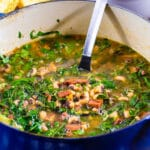 Dutch Oven full of Black-Eyed Pea Soup