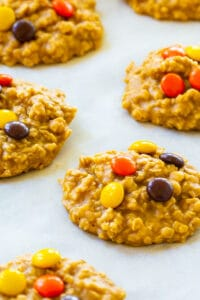 No-Bake Peanut Butter Oatmeal Cookies on parchment paper.