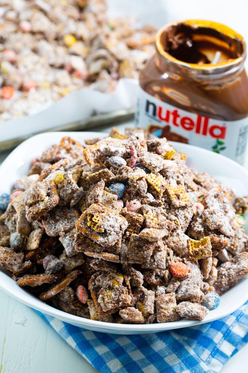 Bowl full of Nutella Muddy Buddies