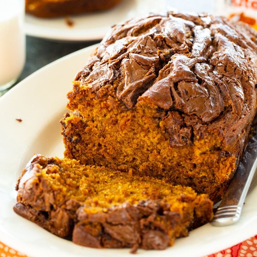 Pumpkin Bread on a white serving platter.