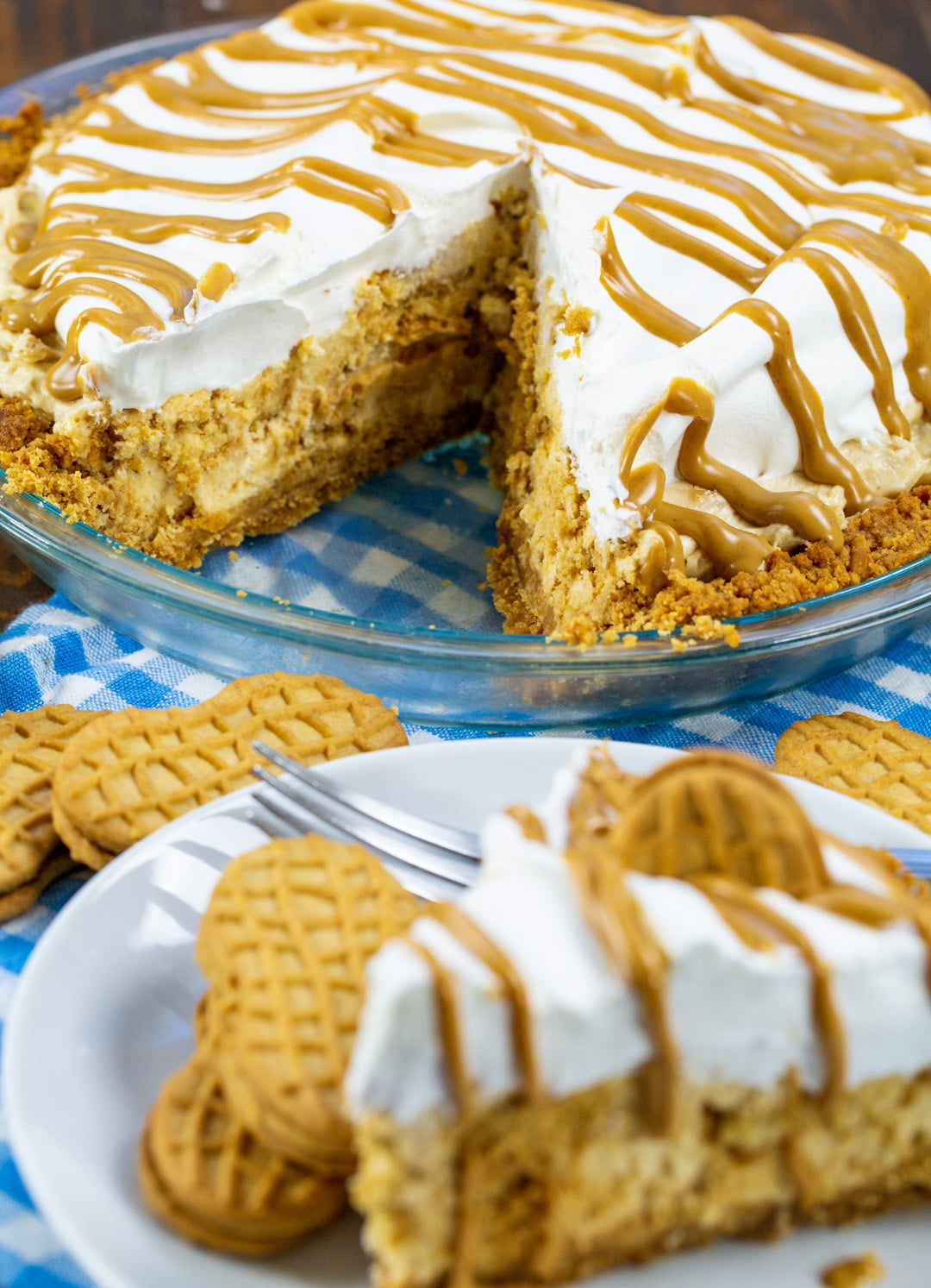 Nutter Butter Pie with a slice cut out.