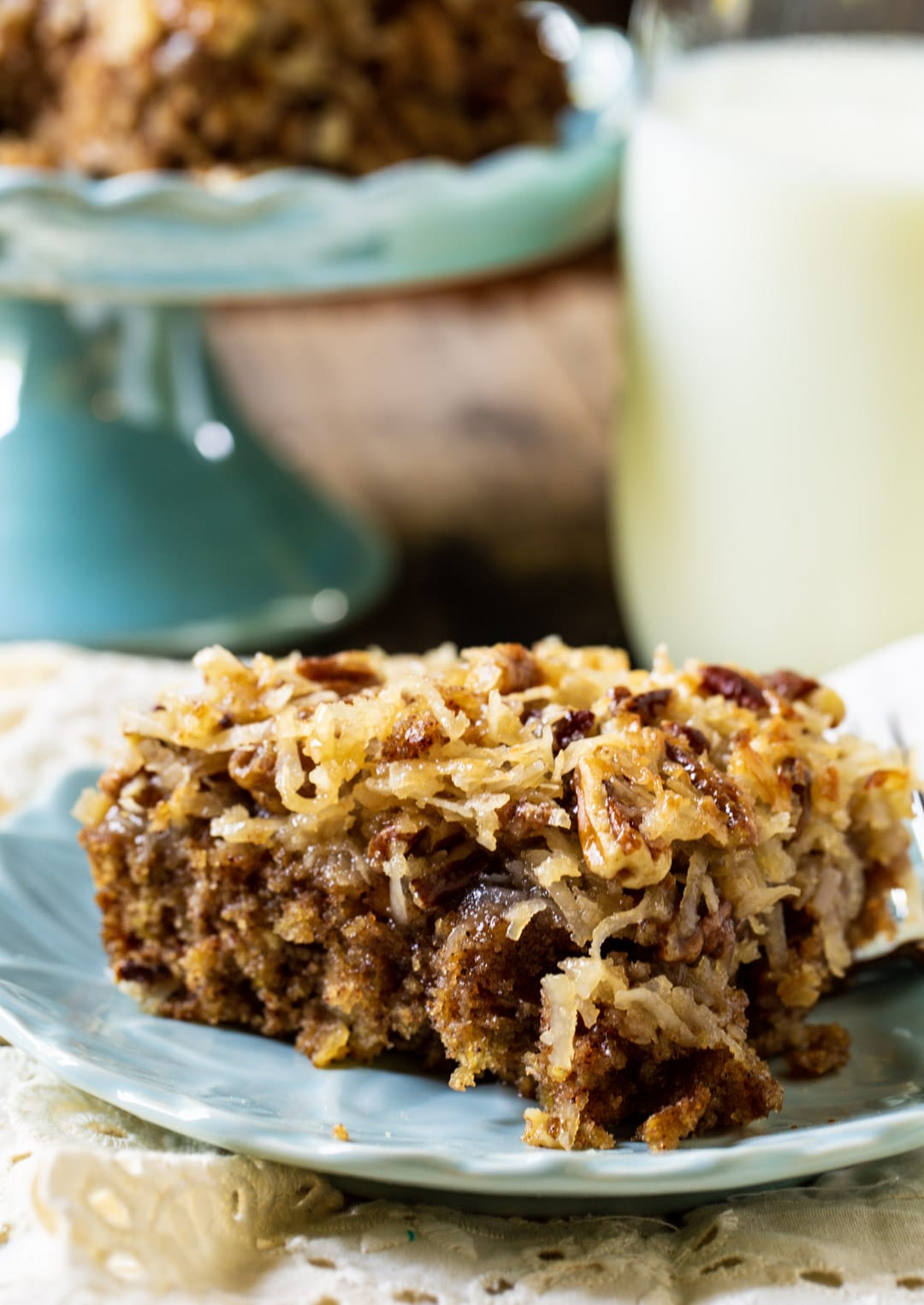 Old-Fashioned Oatmeal Cake on a blue plate.