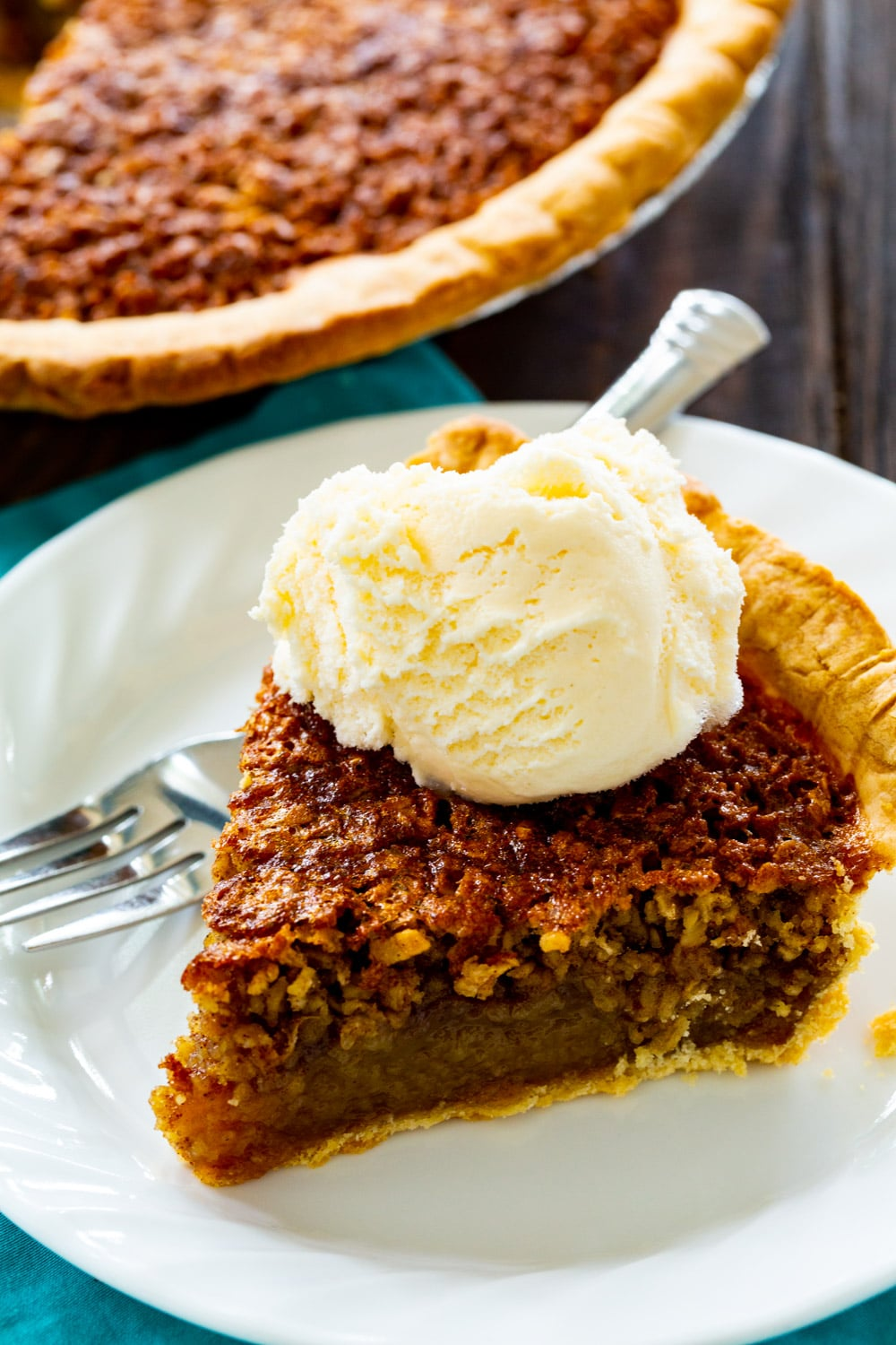 Slice of pie on a plate.