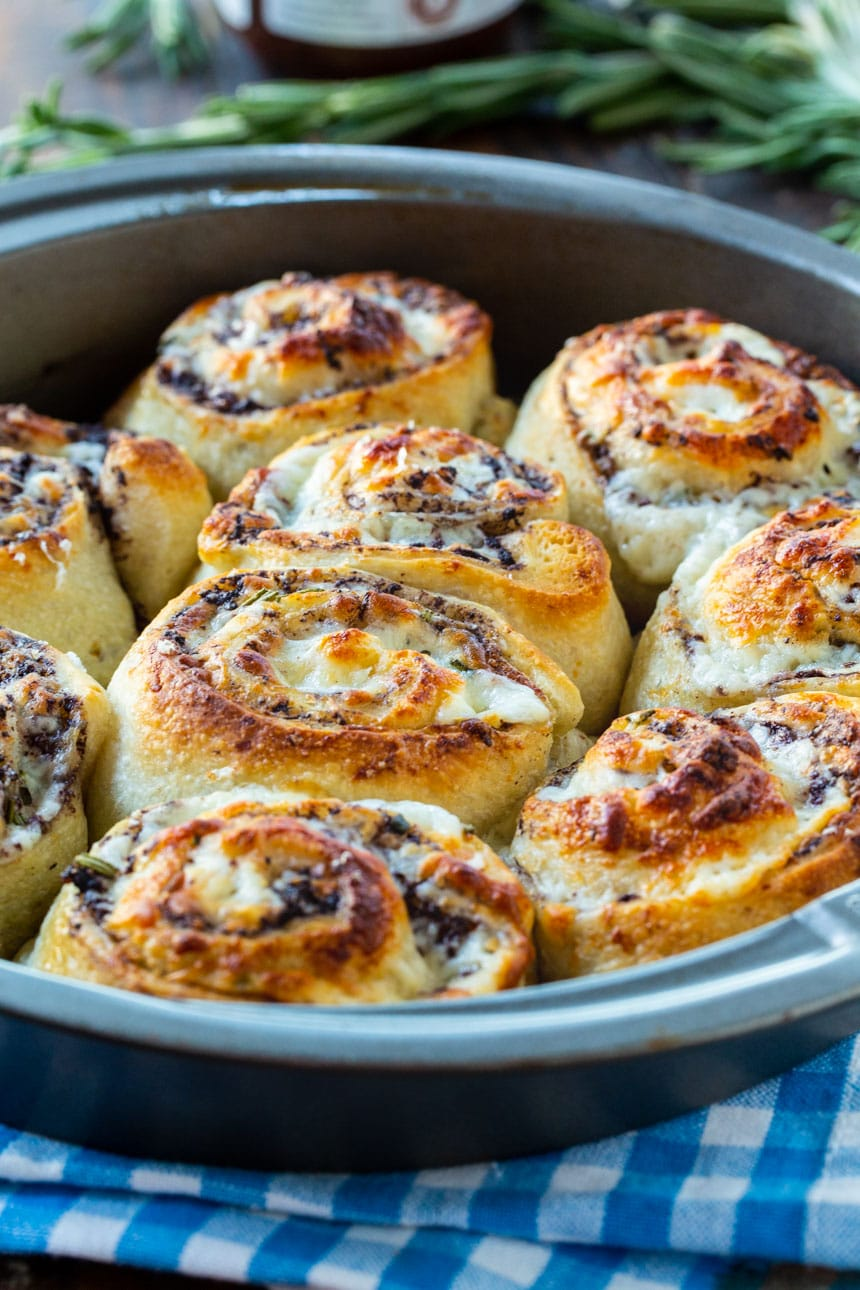 Olive Cheese Rolls baked in a 9-inch cake pan.