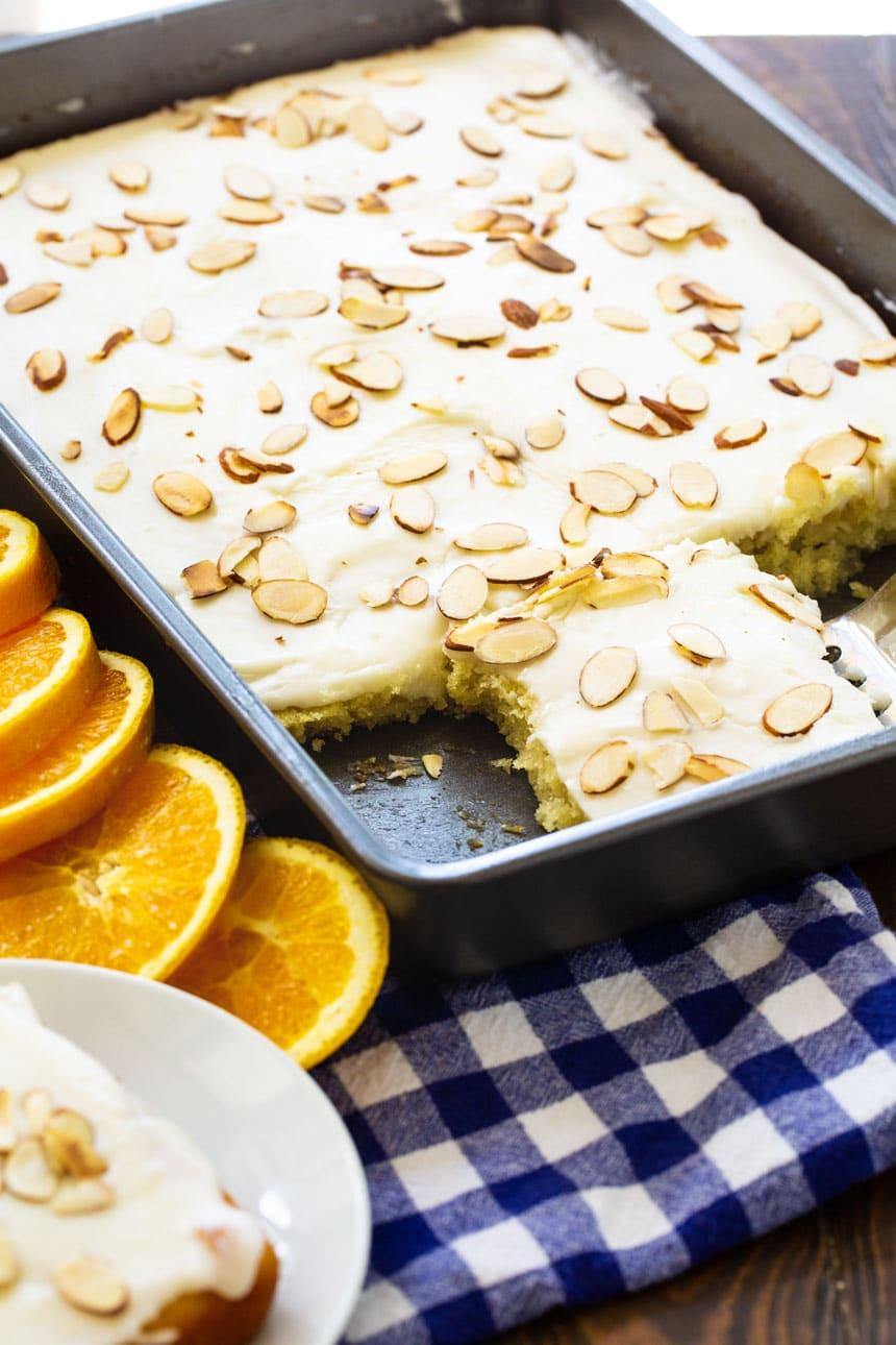 Orange Almond Sheet Cake in a 9x13-inch pan