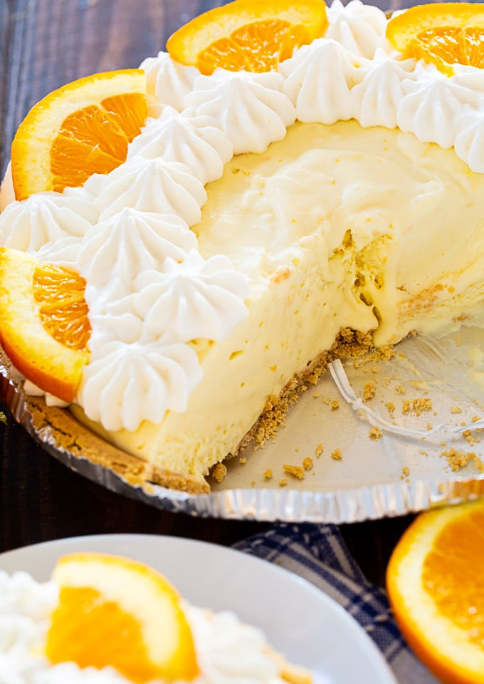 Orange Creamsicle Pie in graham cracker crust