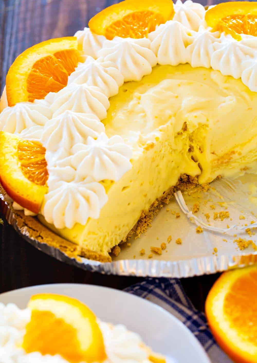 Orange Creamsicle Pie in pie pan.