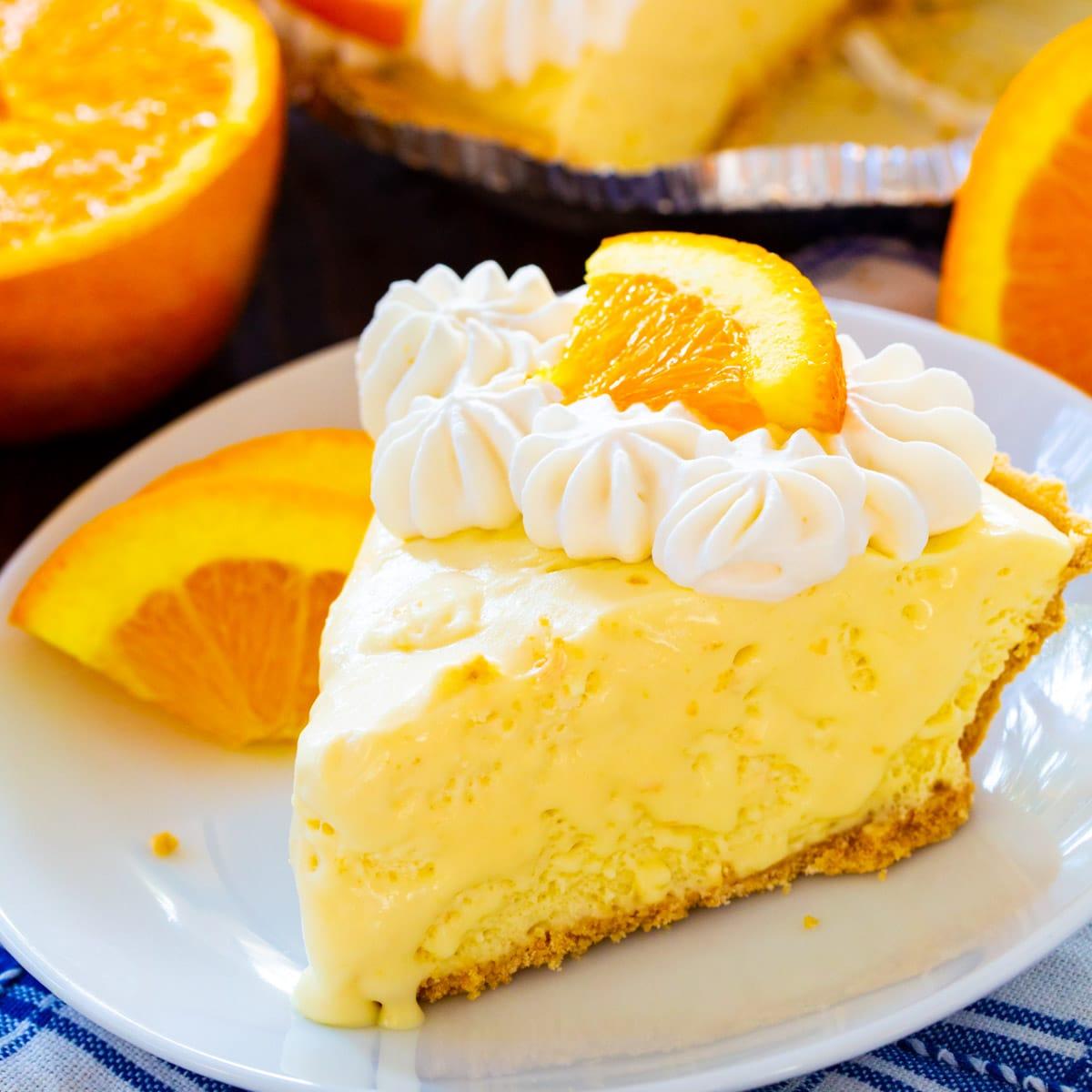 Slice of Orange Creamsicle Pie