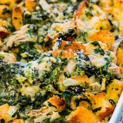 Oysters Rockefeller Bread Pudding