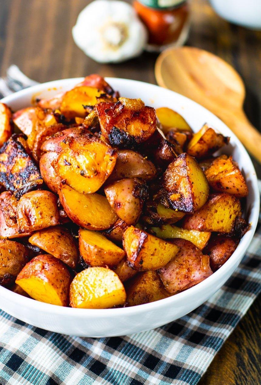 Paprika Potatoes in a white bowl.