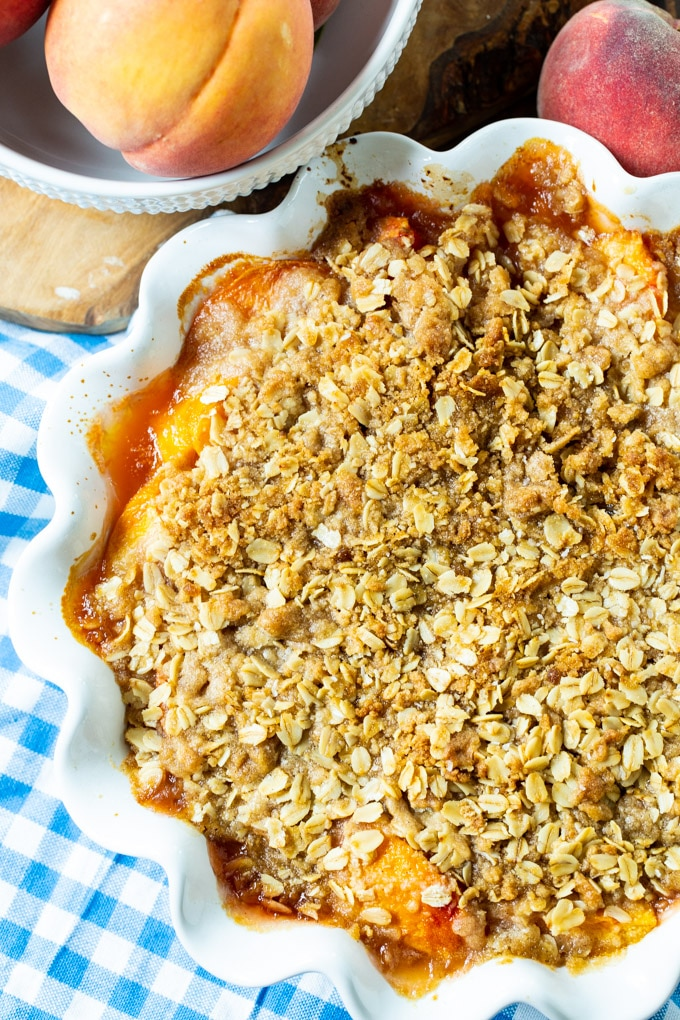 Peach Crisp in 9-inch pie pan