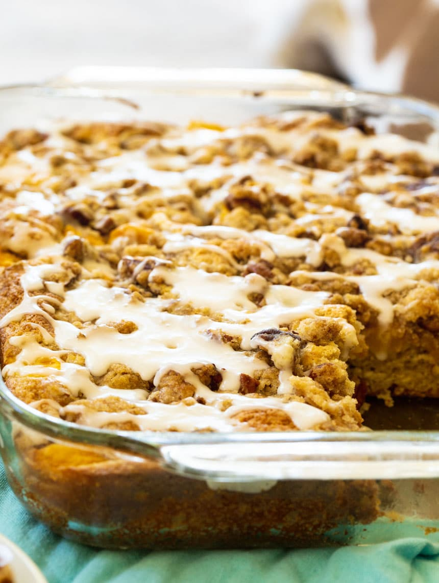 Peach Crisp Coffee Cake in 9x13-inch pan