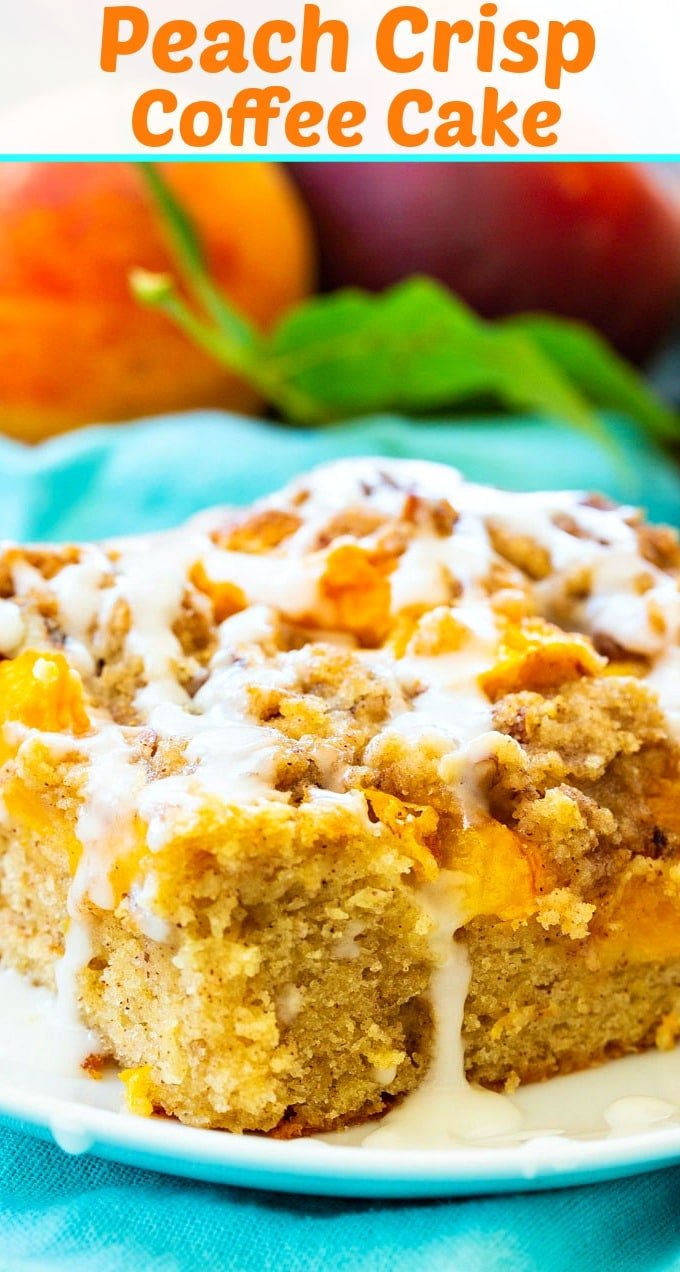 Peach Crisp Coffee Cake close-up