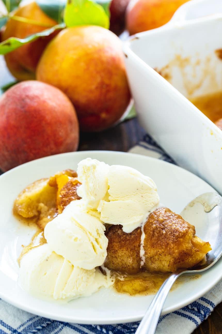 Peach Dumpling with vanilla ice cream.