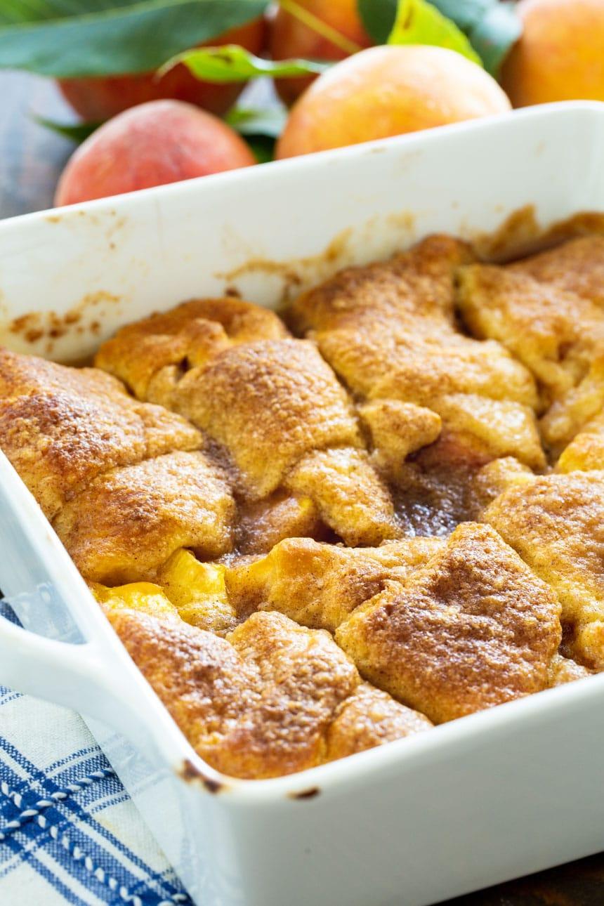 Peach Crescent Dumplings in a white baking dish