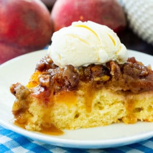 Peach Praline Upside-Down Cake with vanilla ice cream