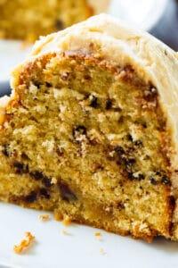 Slice of Peanut Butter Bundt Cake on a plate.
