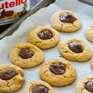 Peanut Butter Thumbprint Cookies with Nutella