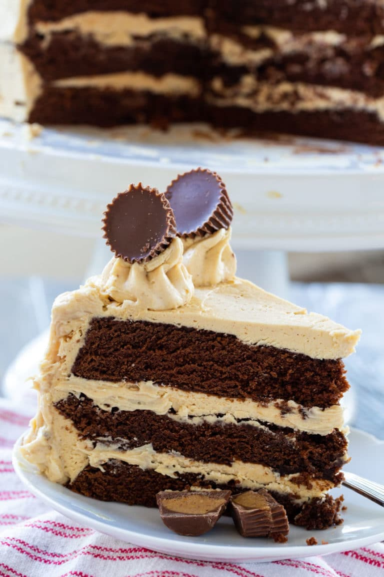 slices of Peanut Butter Cup Cake