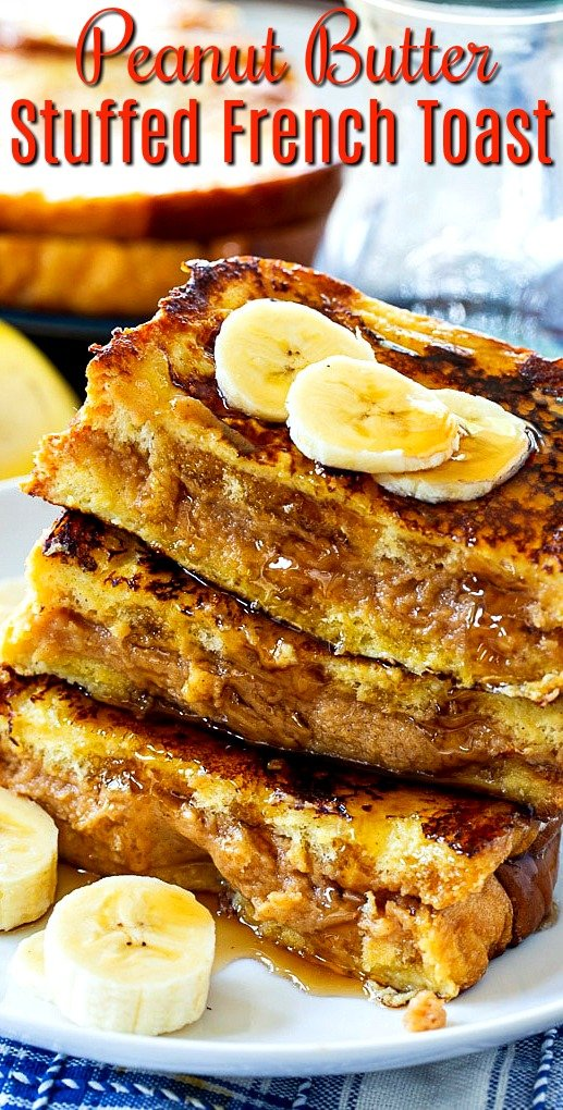 Stack of French Toast stuffed with peanut butter.