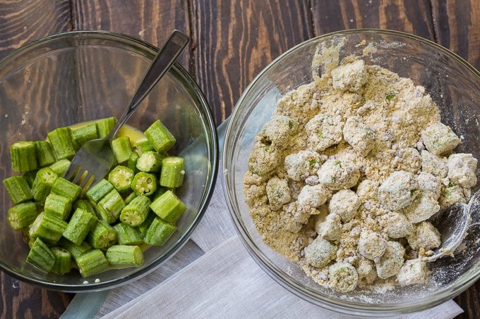 Pecan Crusted Fried Okra makes a delicious southern appetizer