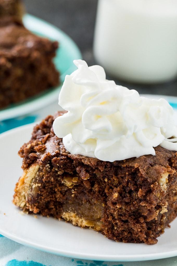 Pecan Pie Brownies have chunks of pecan pie throughout.