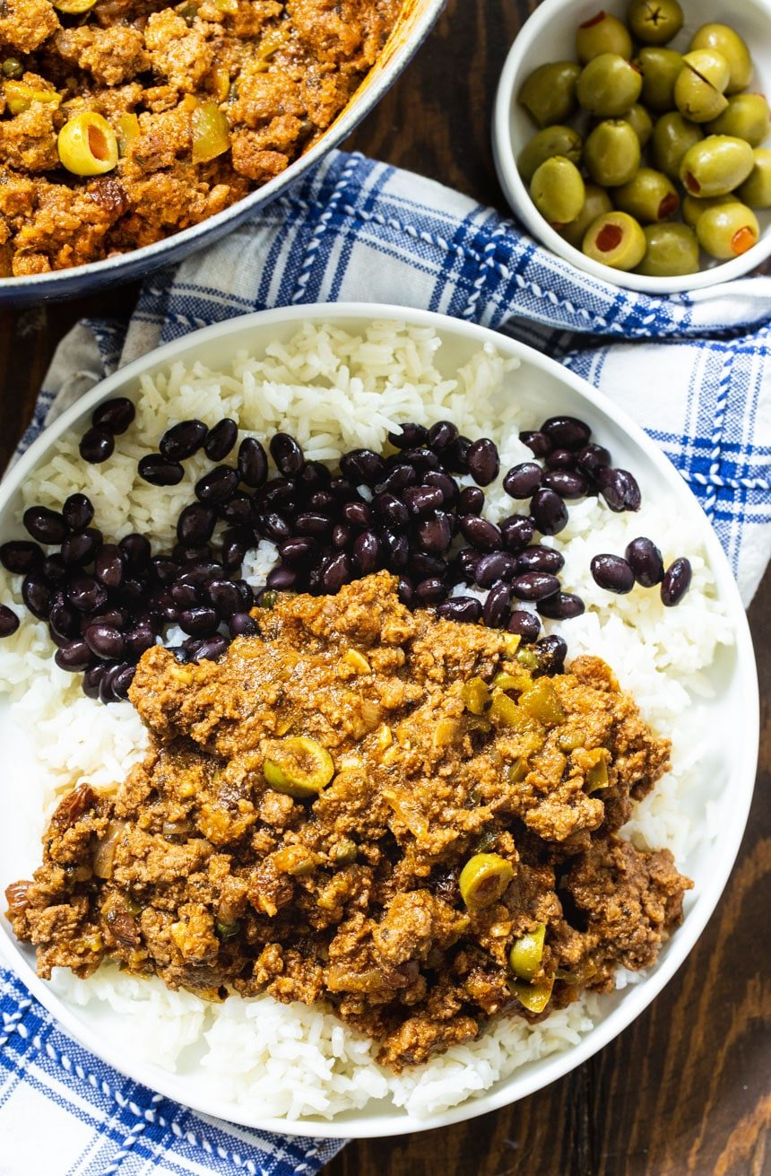Picadillo with white rice and black beans