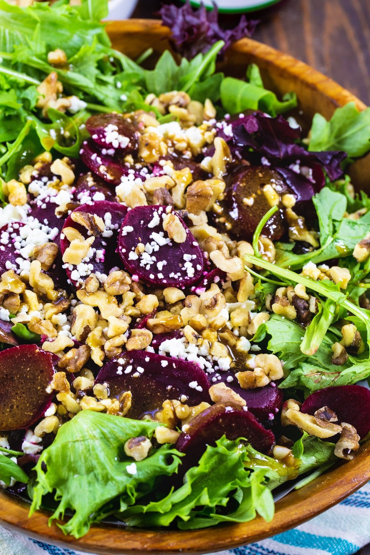Close-up of Pickled Beet Salad.