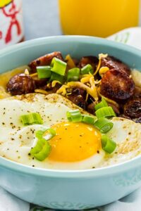 Cheese Grits Bowls with Smoked Sausage