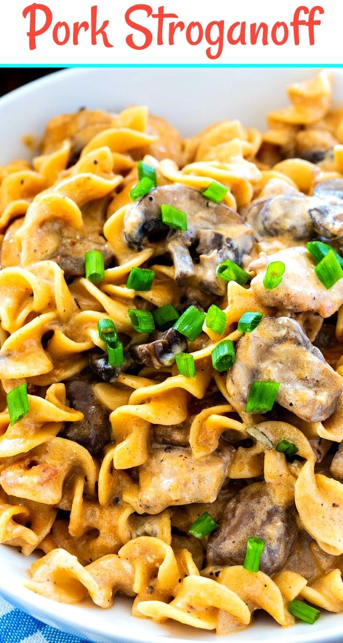 Close-up of Pork Stroganoff in a bowl.