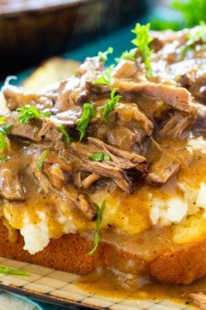 Pot Roast Open Faced Sandwich
