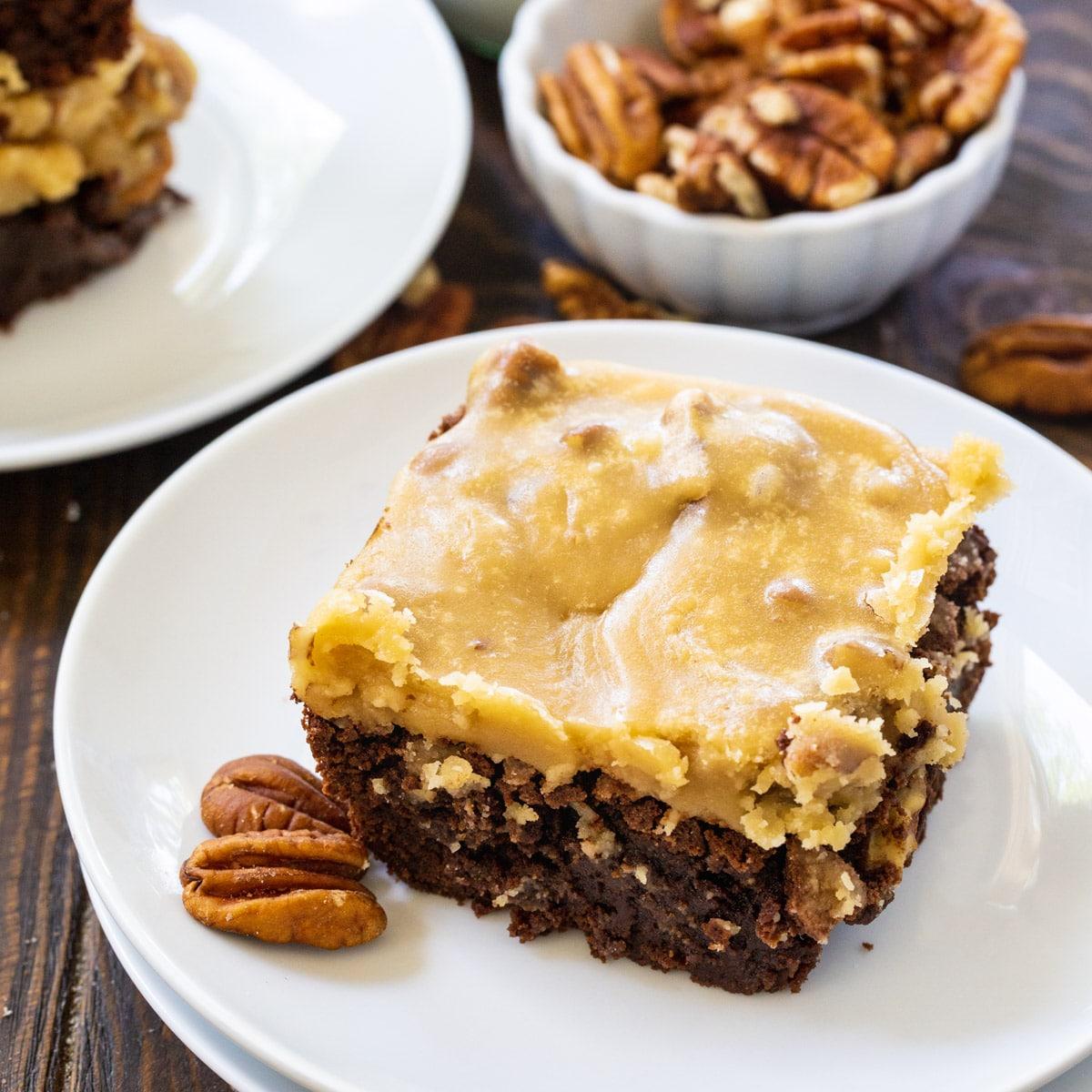 Praline Brownie on a plate.