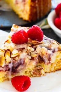 Slice of Raspberry Cream Cheese Coffeee Cake on a plate.