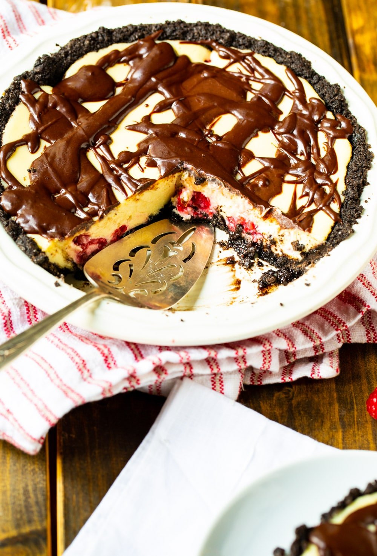 Raspberry Cream Cheese Pie in pie plate.