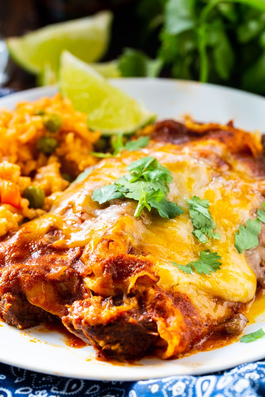 Red Enchiladas with Beef
