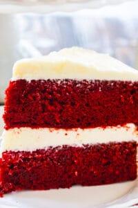 Slice of Red Velvet Cake on a plate.