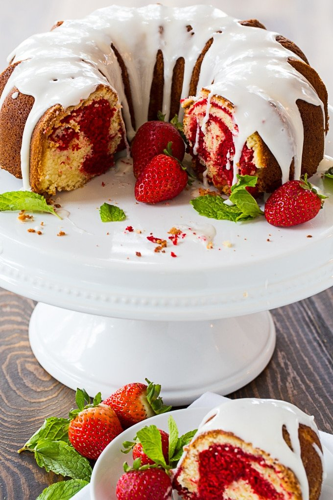 Red Velvet Marble Bundt Cake with glaze