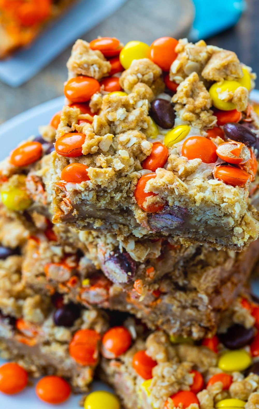 Close-up of Reese's Pieces Peanut Butter Oatmeal Bars