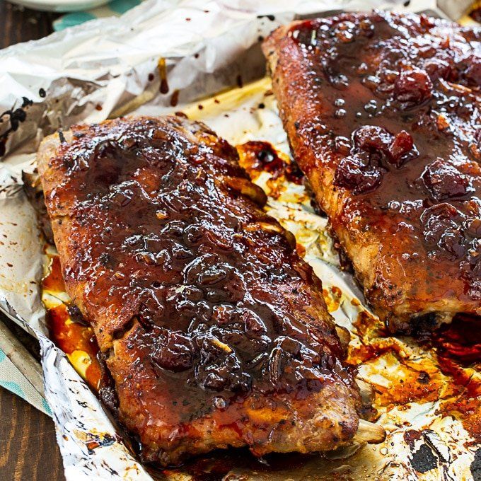 Cheerwine ribs on baking sheet.