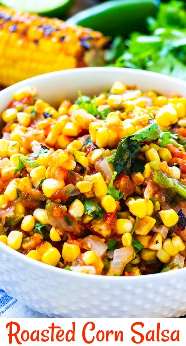 Close-up of Roasted Corn Salsa in a white bowl.