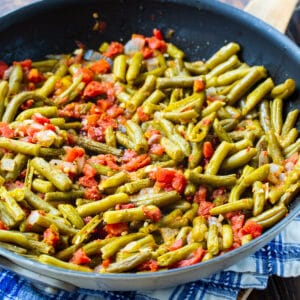 Rotel Green Beans in a nonstick skillet.