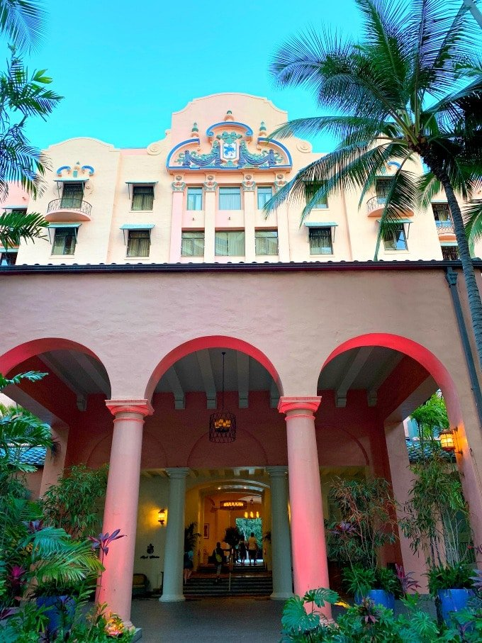 Facade of Royal Hawaiian in Waikiki
