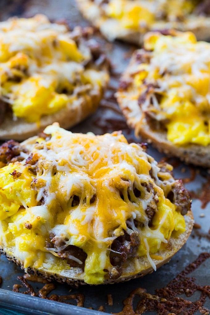 Sausage, Egg & Cheese Breakfast Bagel Pizzas