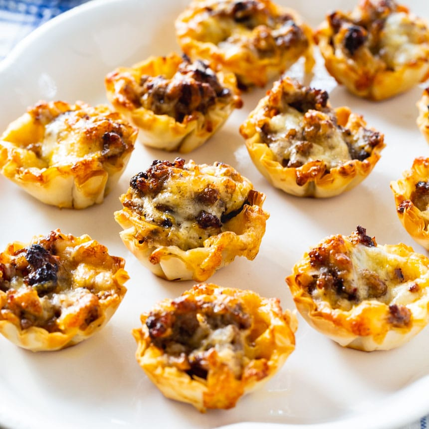 Phyllo Cups filled with Sausage Ranch Filling