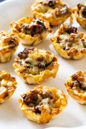 Sausage Ranch Phyllo Cups on a plate.