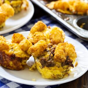 Three Tater Tot Cups on a plate.