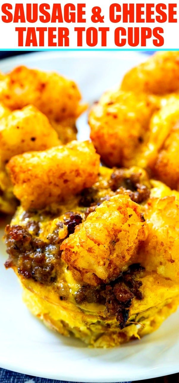 Sausage and Cheese Tater Tot Cups close-up
