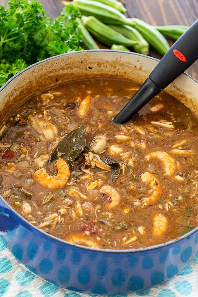 Seafood Gumbo with crab, shrimp, and oysters