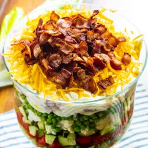Seven-Layer Salad in a trifle dish.