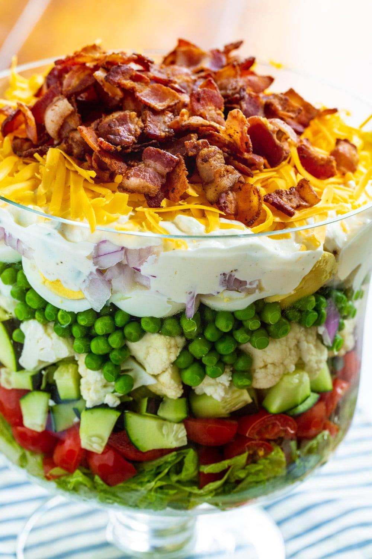 Close-up of Seven-Layer Salad.